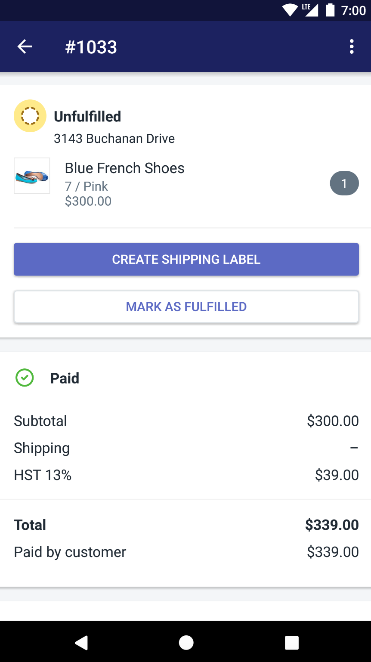 Shopify app - order unfulfilled section Android