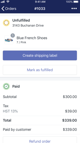 Aplicativo da Shopify - seção de pedido não processado no iPhone