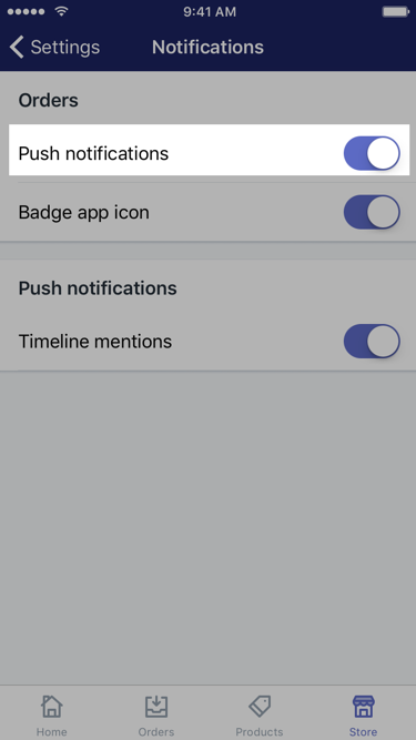 Push notifications option on Notifications screen order settings — Shopify app for iOS