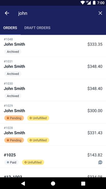 Resultaten voor het zoeken van bestellingen - Android