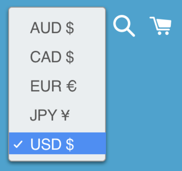 Example currency selector