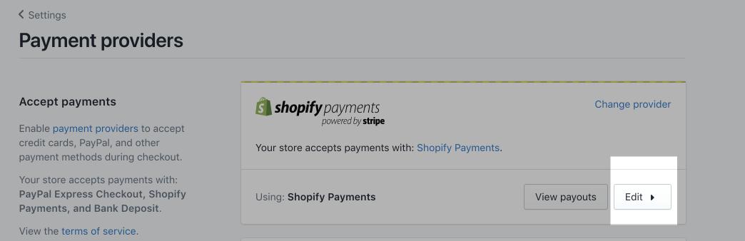 Knappen Rediger i Shopify-betalinger-boksen