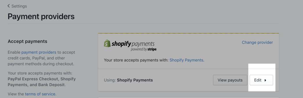 Muokkaa-painike Shopify Payments -ruudussa