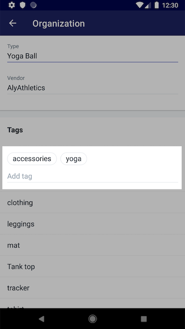 Tags toevoegen - Shopify voor Android