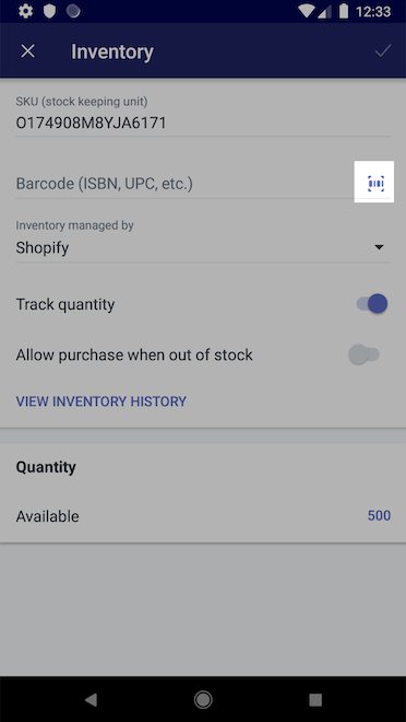 Barcode icon - Shopify for Android