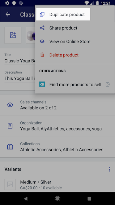 Duplicate product button - Shopify for Android