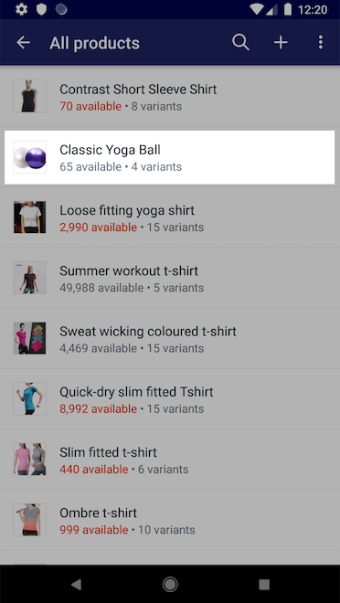 Elenco dei prodotti - Shopify per Android
