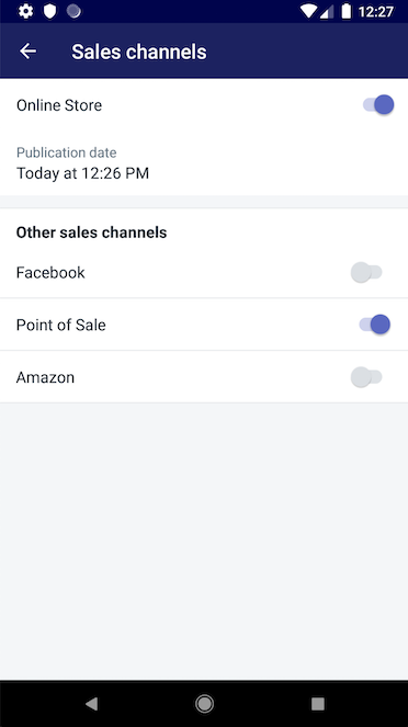 Sales channels screen — Shopify for Android