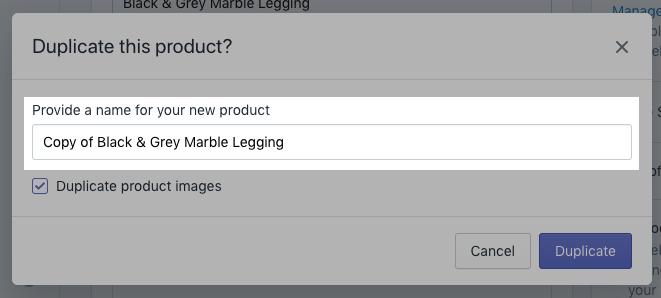 Sezione per inserire un nuovo nome prodotto sul desktop