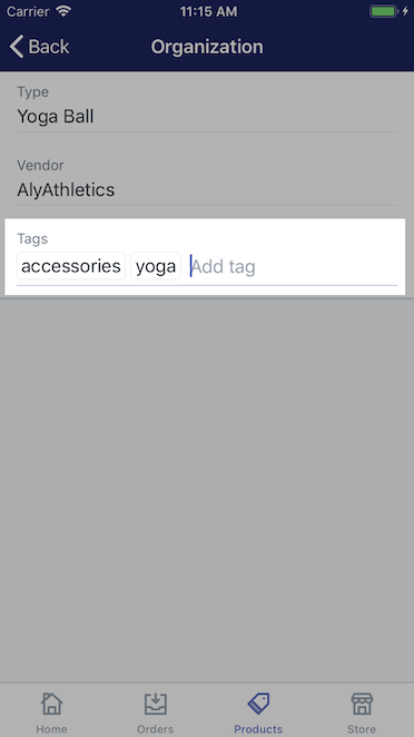 Section to add tags - Shopify for iPhone