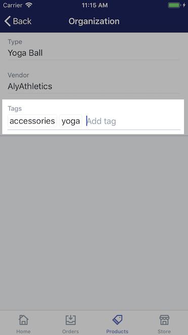 Sekcja do dodawania tagów - Shopify na iPhone'a