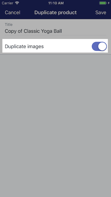 Option de duplication d'images – Shopify pour iPhone