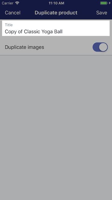 Sekcja do wprowadzania nowego tytułu - Shopify na iPhone'a