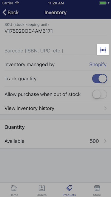 Icono de código de barras: Shopify para iPhone