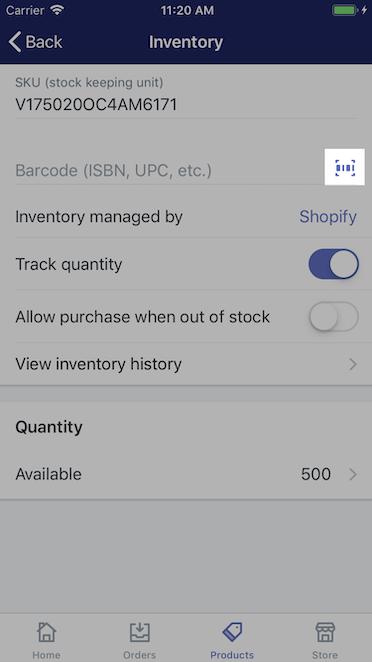 Icona del codice a barre - Shopify per iPhone