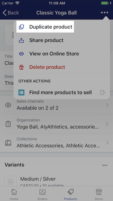 Pulsante Duplica prodotto - Shopify per iPhone