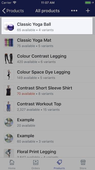 Lista produktów — Shopify na iPhone'a