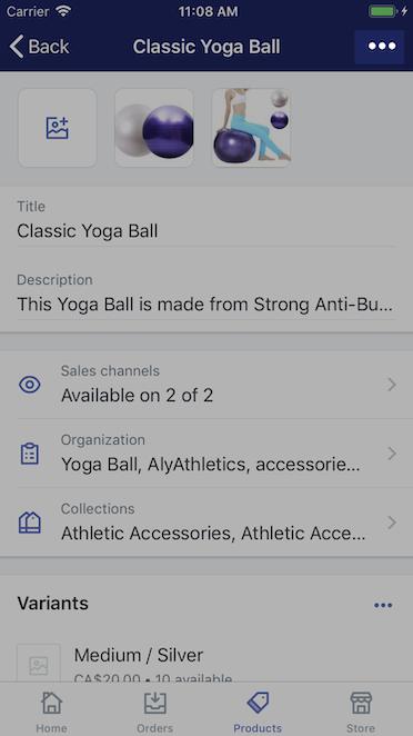 Pulsante ... nella pagina dei dettagli del prodotto — Shopify per iPhone