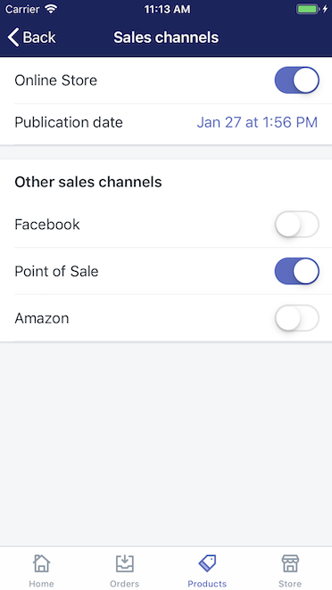 Sales channels screen — Shopify for iPhone
