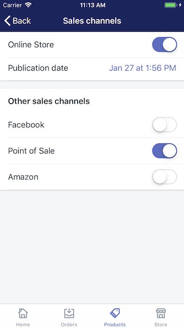 Schermata canali di vendita — Shopify per iPhone
