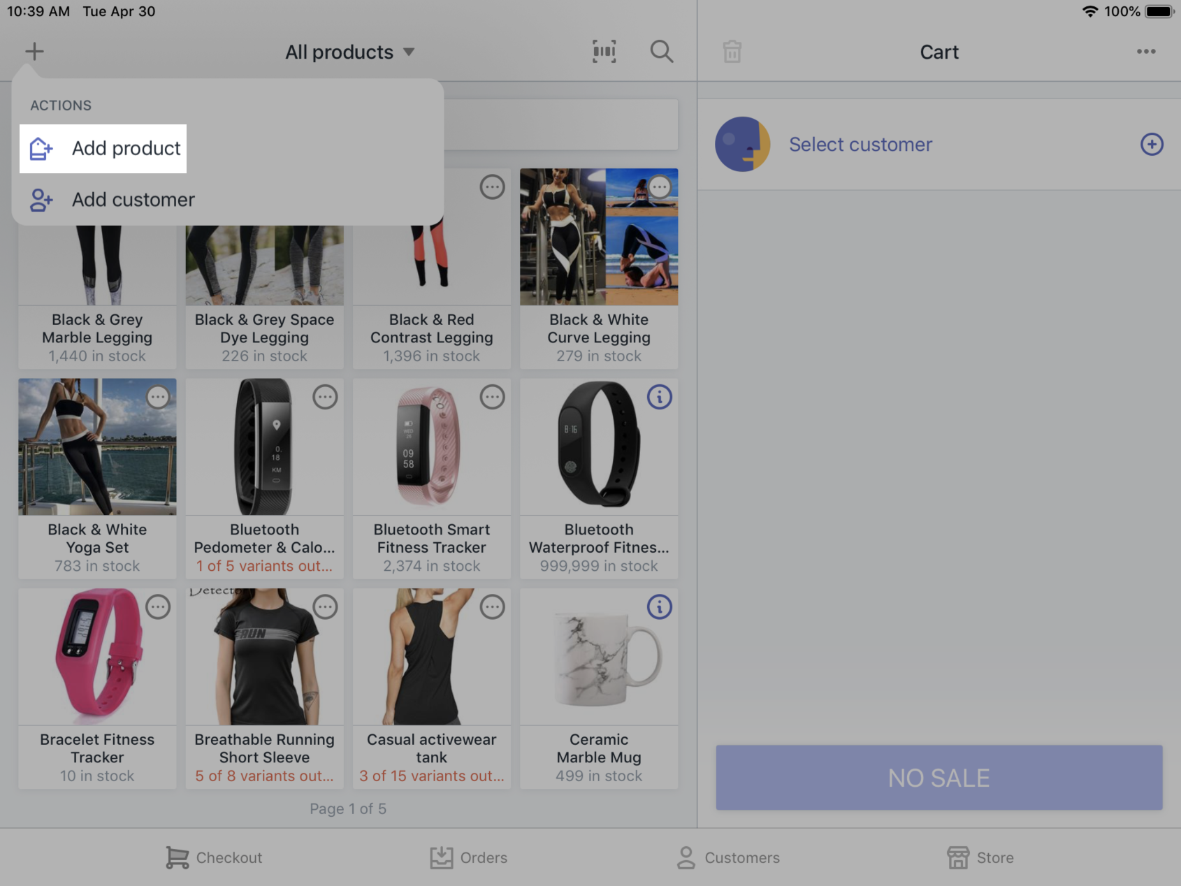 Add product button - Shopify POS