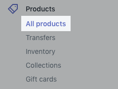 Products button on desktop