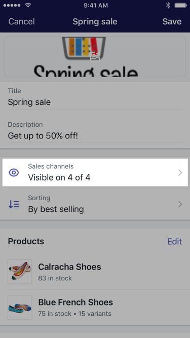 Shopify para iPhone — Botão Canais de vendas na tela de uma coleção