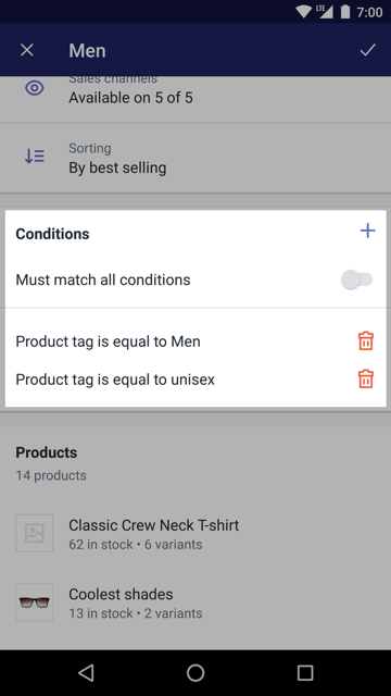 Section Conditions lors de la modification d'une collection — Shopify pour Android