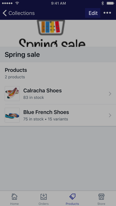 Edit button on manual collection screen — Shopify for iPhone