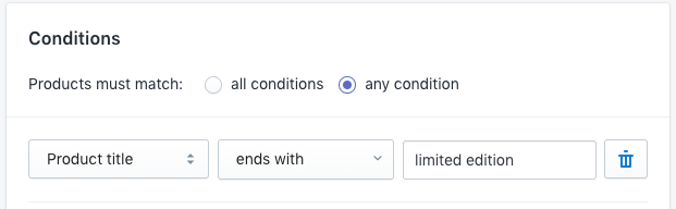 Example of 'ends with' condition