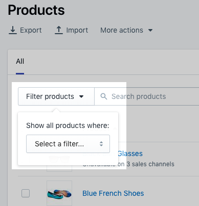 Filter products menu