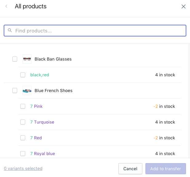 Select the products or variants