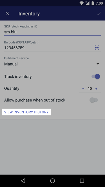 View inventory button on the Inventory screen —Shopify for Android