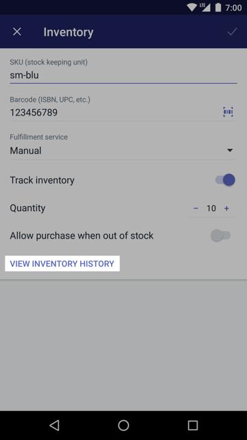 Przycisk Wyświetl zapasy na ekranie Zapasy —Shopify na Android