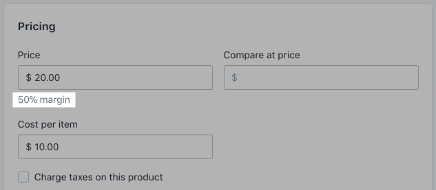 50% margin displayed on the variant details page