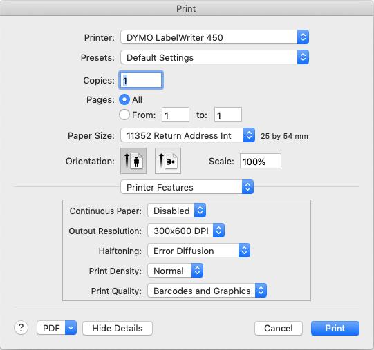 Cuadro de diálogo de impresión Mac
