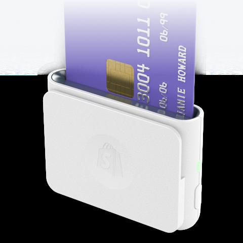 插入 Shopify 芯片式和刷卡式读卡器的信用卡