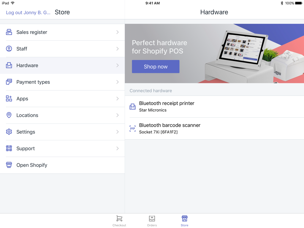Hardware screen showing installed hardware — Shopify POS for iPad