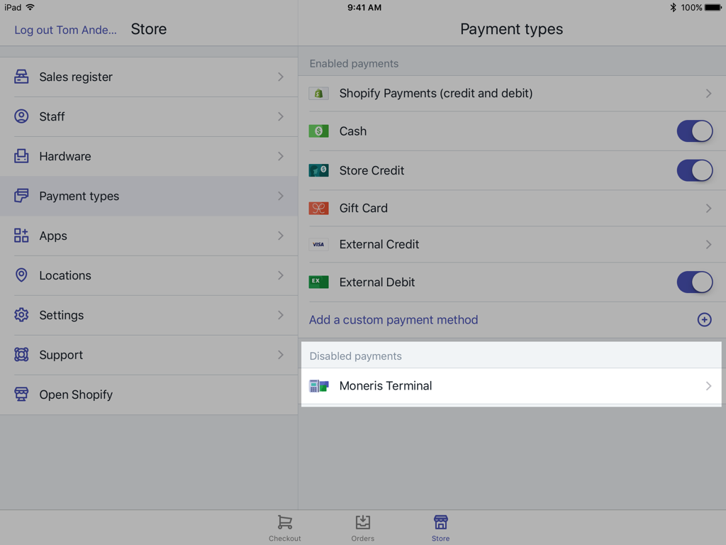 Moneris Terminal-knop op het scherm Shopify POS Payments-instellingen