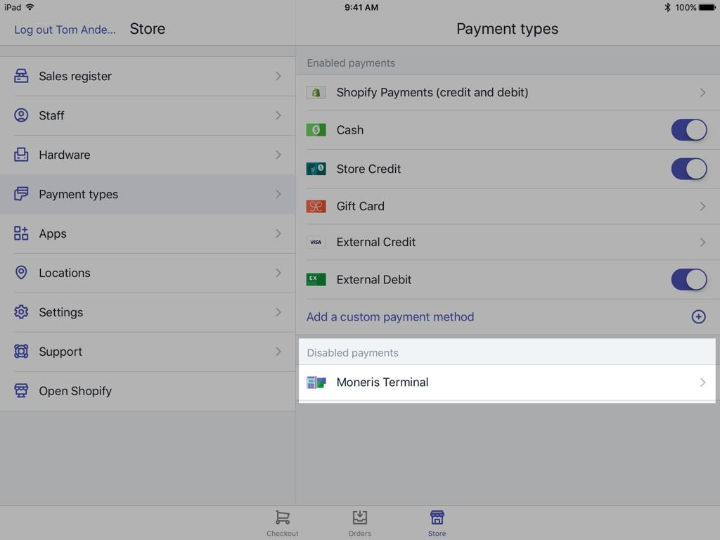 Shopify POS 付款設定畫面上的 Moneris 終端機按鈕