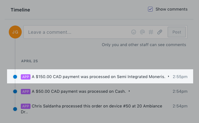 Moneris transaction message in an order's Timeline section