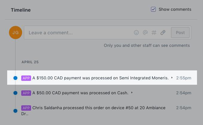 Moneris-transactiebericht in het gedeelte Tijdlijn van een bestelling