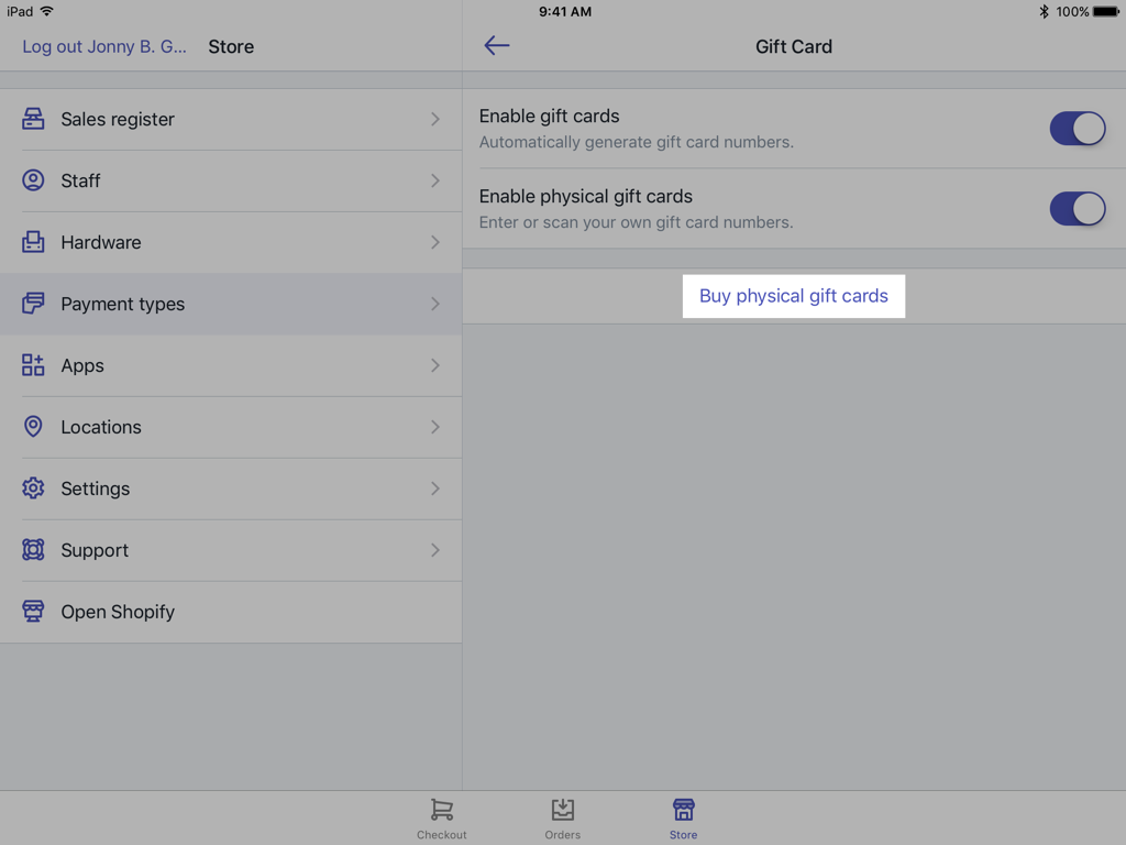 Gift cards settings screen - Shopify POS for iPad