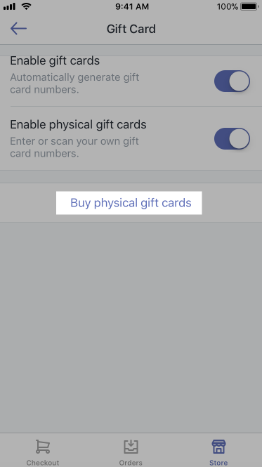Gift cards settings screen - Shopify POS for iPhone