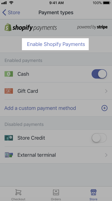 Activar el botón Shopify Payments: Shopify POS para iPhone