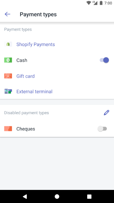 Payment types screen — Shopify POS for Android