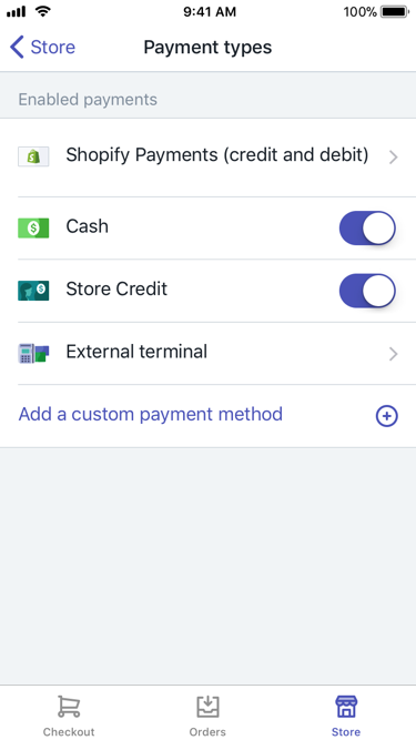Payment types screen — Shopify POS for iPhone