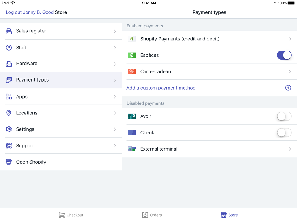 Translated Payments settings screen - Shopify POS for iPad