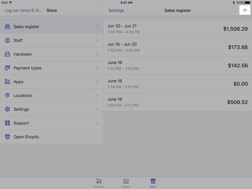 Bouton et écran Register (Caisse) - Shopify PDV pour iPad