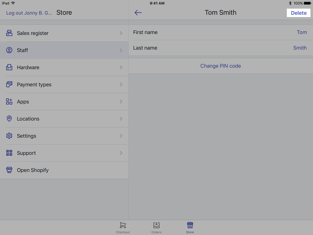 Editing a staff member's details — Shopify POS for iPad